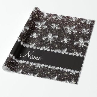 Papier Cadeau Scintillement personnalisé de noir de name fleur
