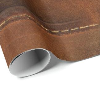 Papier Cadeau Sellez le cuir bronzage de Faux