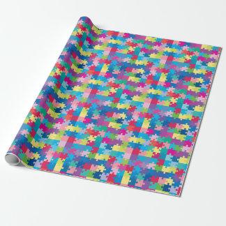 Papier Cadeau Sensibilisation sur l'autisme de motif de puzzle