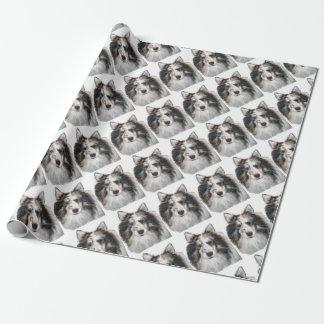 Papier Cadeau Sheltie noir et blanc