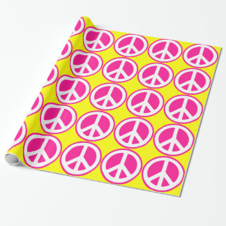 Papier Cadeau Signe de paix rose au néon