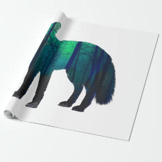 Papier Cadeau Silhouette de Fox - renard de forêt - art de