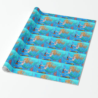 Papier Cadeau sirènes de roux sur le papier bleu