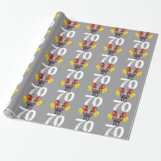 Papier Cadeau soixante-dixième Papier gris d'emballage cadeau de