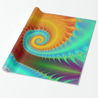 Papier Cadeau Spirale dentée en turquoise et or