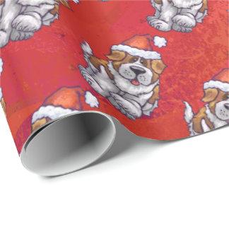 Papier Cadeau St Bernard dans le motif de casquette sur le rouge