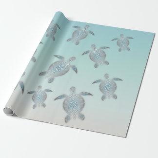 Papier Cadeau Style argenté de plage de tortues