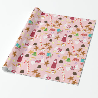 Papier Cadeau Sucres de canne de menthe poivrée de sucrerie de