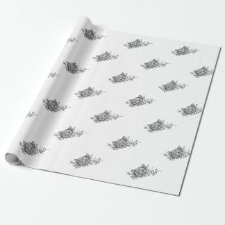 Papier Cadeau Tatouage principal de fleur de jasmin de chat