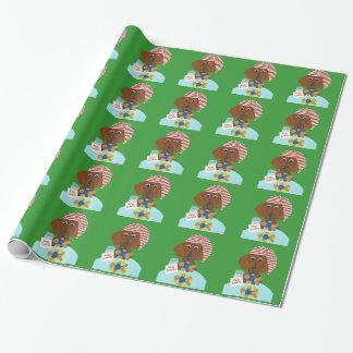 Papier Cadeau Teckel gardant les biscuits de Père Noël
