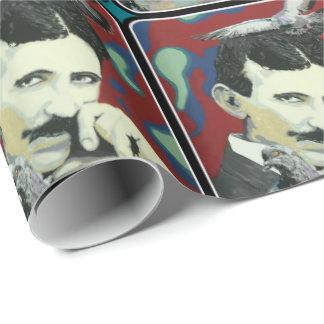 """Papier Cadeau """"Tesla rêvasse"""" dessus"""
