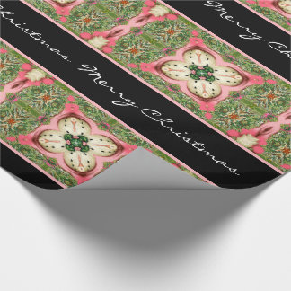 Papier Cadeau Texte personnel de la coordonnée 1 vintage de rose