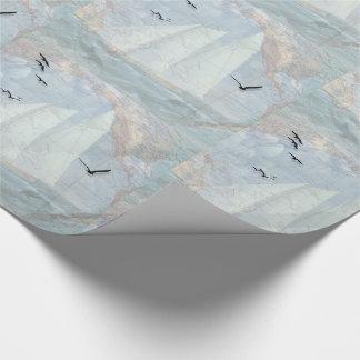 Papier Cadeau Thème nautique avec la carte de voilier et de