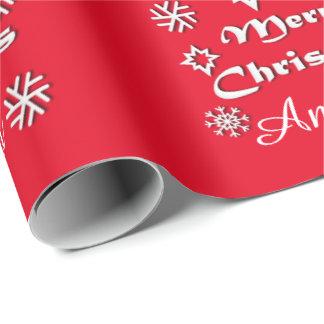 Papier Cadeau Thème personnalisé de Joyeux Noël avec le nom