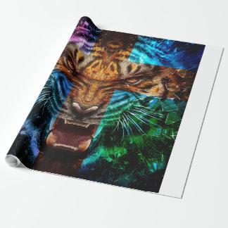 Papier Cadeau Tigre croisé - tigre fâché - visage de tigre - le