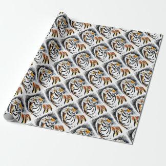 Papier Cadeau Tigre dans la neige noir
