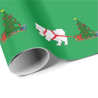 Papier Cadeau Tirez le Samoyed tirant l'arbre de Noël
