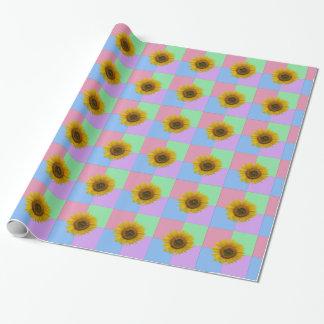 Papier Cadeau Tournesol Checkered en pastel