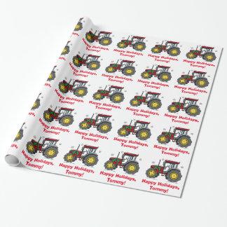 Papier Cadeau Tracteur avec le nom de guirlande de Noël