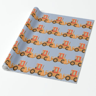 Papier Cadeau Transport Payloader orange - bleu