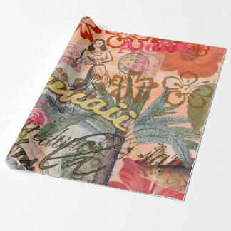 Papier Cadeau Tropical hawaïen coloré de voyage vintage d'Hawaï