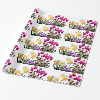 Papier Cadeau Tulipes roses et papier d'emballage de jonquilles