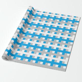 Papier Cadeau Turquoise abstraite, argent et blanc