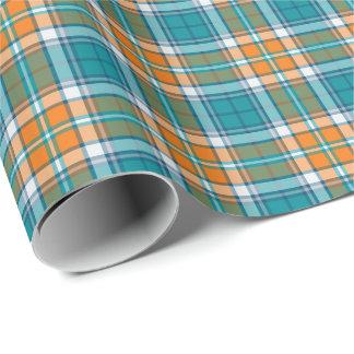 Papier Cadeau Turquoise lumineuse et motif sportif orange de