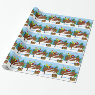 Papier Cadeau Une grenouille de Père Noël au-dessus de