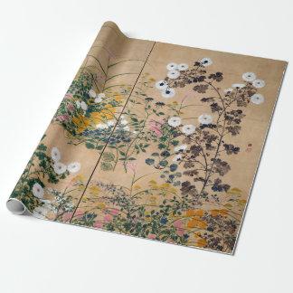 Papier Cadeau Usines fleurissantes d'Ogata Korin en automne