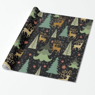 Papier Cadeau Vacances de Noël - arbres et cerfs communs sur le