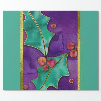 Papier Cadeau Vacances rouges vertes pourpres de baies de houx