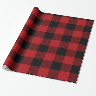 Papier Cadeau Vacances rustiques rouges et noires de plaid de