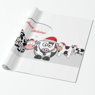Papier Cadeau Vaches mignonnes à Noël bonnes fêtes