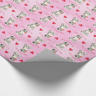 Papier Cadeau Valentine great dane rose