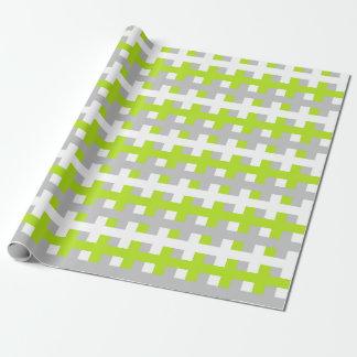 Papier Cadeau Vert, argent et blanc de chaux abstrait