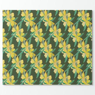 Papier Cadeau vert avec les fleurs jaunes