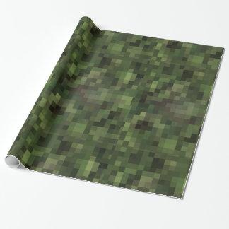 Papier Cadeau vert checkered de camouflage de motif d'échecs