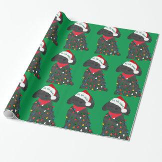 Papier Cadeau Vert de Labradoodle de lumières de Noël