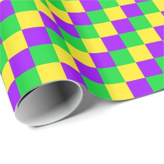 Papier Cadeau Vert de mardi gras, jaune, pourpre vérifié