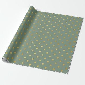 Papier Cadeau Vert de mousse moderne de pois de feuille d'or