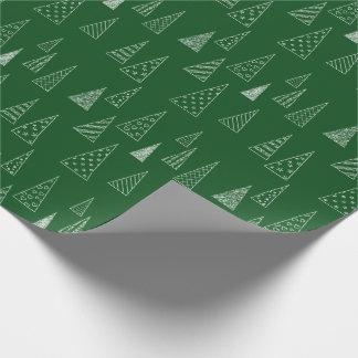 Papier Cadeau Vert et blanc de motif d'arbre de Noël