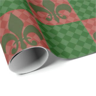 Papier Cadeau Vert et papier d'emballage de Red Fleur De Lis