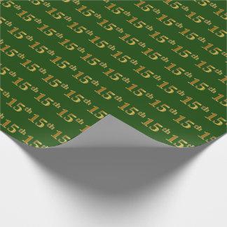 Papier Cadeau Vert, événement d'or de Faux 15ème (quinzième)