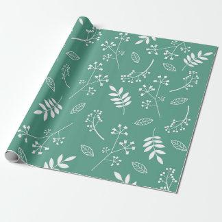 Papier Cadeau Vert floral botanique de Teal de verdure de