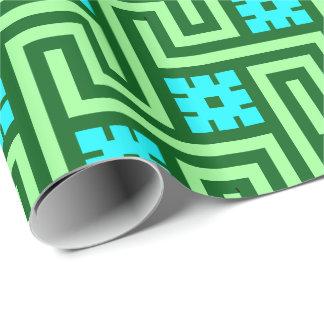 Papier Cadeau Vert grec de clé, de turquoise et de jade de Deco