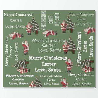 Papier Cadeau Vert personnalisé de Noël de Père Noël