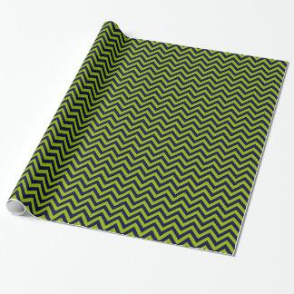 Papier Cadeau Vert pomme, motif de zigzag de bleu marine grand