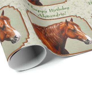 Papier Cadeau Vert sauge de cheval de Morgan de châtaigne