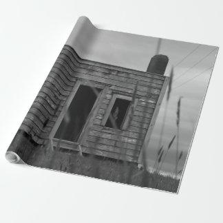 Papier Cadeau vieille cabane en noir et blanc